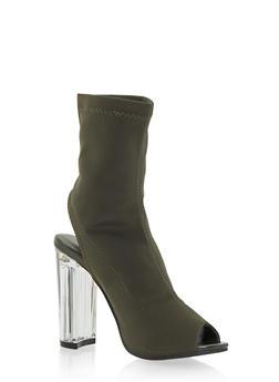 Clear Heel Peep Toe Bootie - 1106070402533