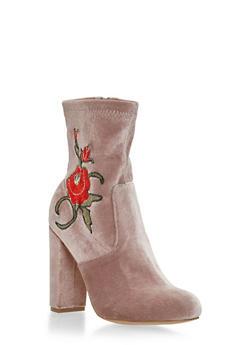 Embroidered Flower Velvet Bootie - 1106070403275