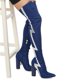 Over the Knee Boots with Thunderbolt Accent - 1106070967294