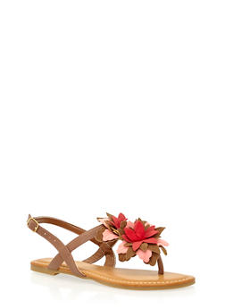 Thong Sandals with Tiered Floral Strap - 1110004061836