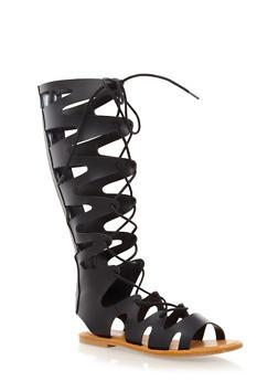Knee High Gladiator Sandals with Lace Up Design,BLACK,medium
