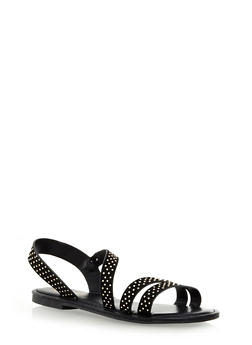 Studded Suede Strappy Slingback Sandals - 1110004062298