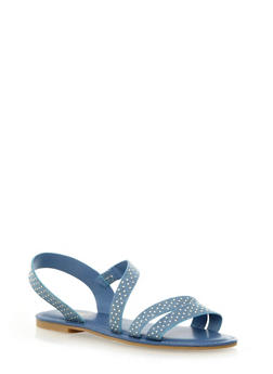 Studded Suede Strappy Slingback Sandals,BLUE DENIM,medium