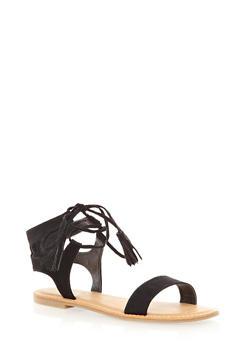 Lace-Up Open Toe Ankle Sandals With Fringe Tassels,BLACK,medium