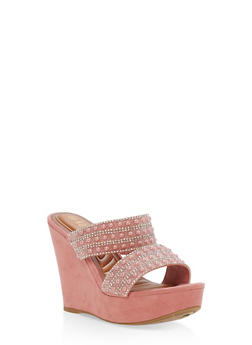 Faux Suede Jeweled Strap Wedge Sandals - MAUVE F/S - 1110004062355