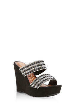 Faux Suede Jeweled Strap Wedge Sandals - BLACK F/S - 1110004062355