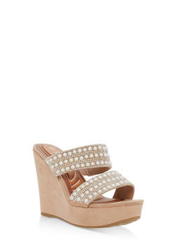 Faux Suede Jeweled Strap Wedge Sandals - 1110004062355