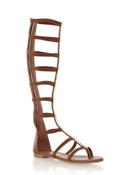 Tall Metallic Embellished Gladiator Sandals,CHESTNUT,medium