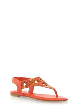 Sparkle And Rhinestone Aztec Lasercut T-Strap Sandals,ORANGE,medium