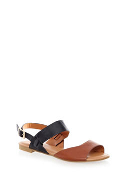 Faux Leather Double Strap Buckle Slingback Sandals With Woven Details - 1110004062369