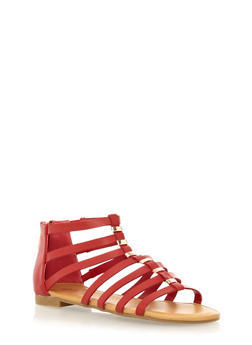 Strappy Open Toe Flat With Metallic Bar Embellishments - 1110004062371