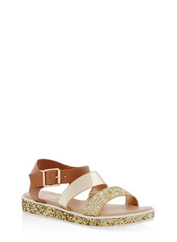 Double Banded Glitter Trim Sandals - 1110004062378