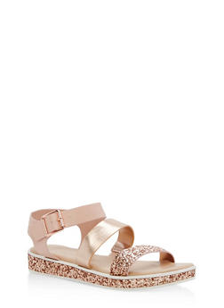 Double Banded Glitter Trim Sandals - ROSE CRP - 1110004062378