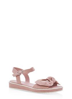 Bow Strap Low Platform Sandals - DARK BLUSH F/S - 1110004062380