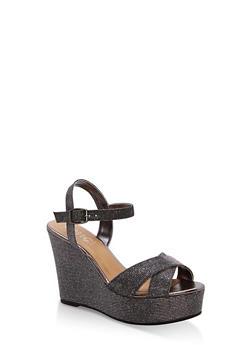 Glitter Wedge Sandals - PEWTER GLITTER - 1110004062490