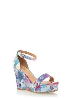 Platform Wedges with Buckle Ankle Strap - 1110004062499