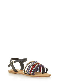 Embroidred Pom Pom Sandals - 1110004062537