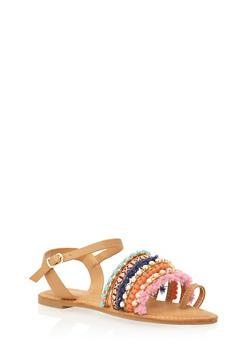 Embroidred Pom Pom Sandals - 1110004062537