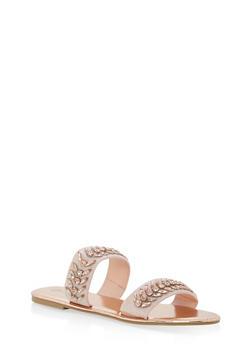 Double Band Jeweled Slide Sandals - BLUSH NUBUCK - 1110004062539