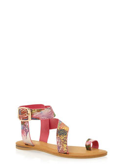 Flat Toe Ring Crossover Sandals - ORANGE MULTI - 1110004062548