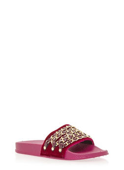 Velvet Chain Link Strap Slide On Sandals - FUCHSIA VELVET - 1110004062600