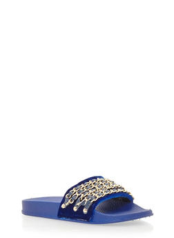 Velvet Chain Link Strap Slide On Sandals - BLUE VELVET - 1110004062600