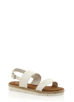 Flat Espadrille Sandals with Adjustable Ankle Buckle - 1110004062644