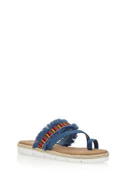 Frayed Strap Toe Ring Sandals - 1110004062645