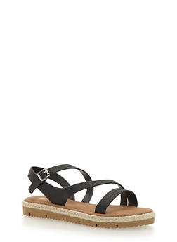Strappy Sandals with Raffia Trim - 1110004062646