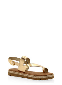 Asymmetrical Flat Sandals with Toe Ring - 1110004062648
