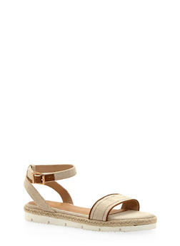 Flat Espadrille Sandals with Buckle Ankle Strap - NATURAL LINEN - 1110004062649