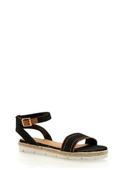 Flat Espadrille Sandals with Buckle Ankle Strap - 1110004062649