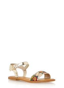 Ankle Strap Flat Sandals with Sequin Flowers - 1110004063342