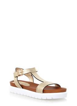 Buckle Strap Platform Sandals,GOLD,medium