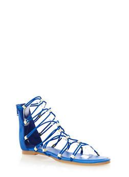 Elastic Strap Ankle Gladiator Sandals With Rhinestone Studded Bars,BLUE,medium