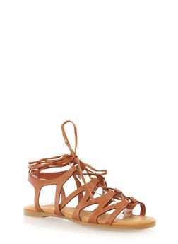 Lace Up Gladiator Sandals,CHESTNUT,medium