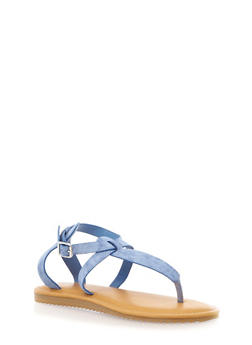 Strappy Thong Sandals with Buckle Closure - 1110004064334