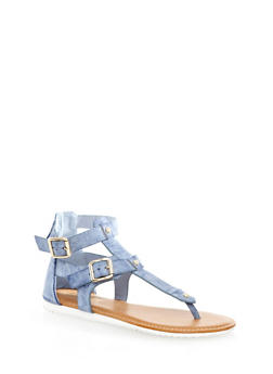 Double Buckle Studded Gladiator Thong Sandal - 1110004064339