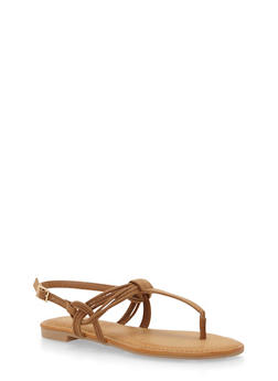 Thong Sandals with Multi Strap Detail - TAN F/S - 1110004064660