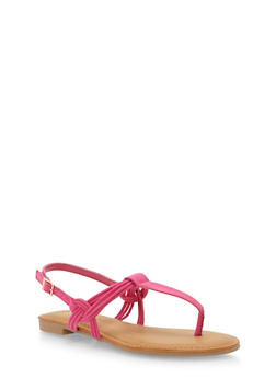 Thong Sandals with Multi Strap Detail - FUCHSIA F/S - 1110004064660