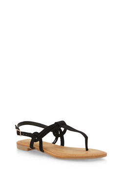 Thong Sandals with Multi Strap Detail - BLACK F/S - 1110004064660