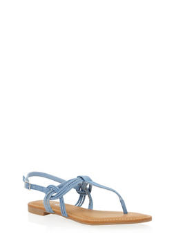 Thong Sandals with Multi Strap Detail - CHAMBRAY CANVAS - 1110004064660