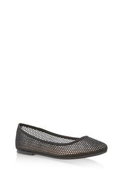 Pointed Toe Glitter Mesh Ballerina Flats - BLACK MESH - 1110004064666