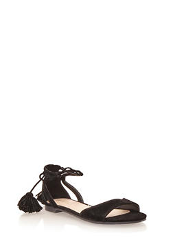 Lace Up Sandals with Pom Poms - 1110004064676