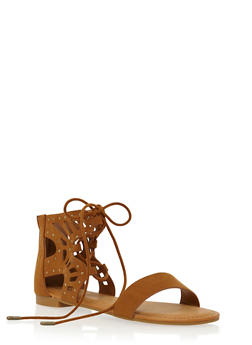 Lace-Up Sandals with Studded Lasercut Ankle - 1110004064678