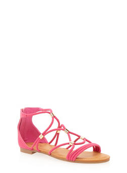 Ankle Gladiator Sandal with Metal Beads - 1110004064679