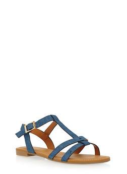 Flat T Strap Sandals - 1110004064681