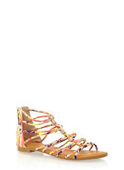 Caged Flat Sandals in Beaded Faux Suede - 1110004064683