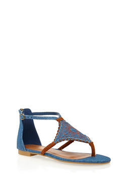 Thong Sandals with Embroidered Design - 1110004064684