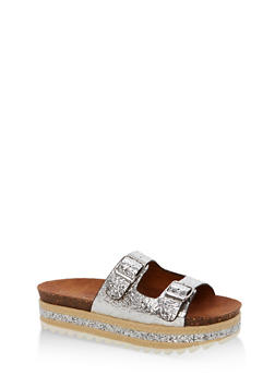 Metallic Faux Leather Platform Sandals with Glitter Footbed - 1110004065231